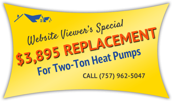 Install a new heat pump in your Virginia Beach VA home with HVAC Warehouse.